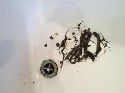 This sink wouldn't drain until Pulled out all that hair. Yuck!